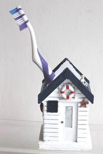 Beach Hut Ceramic Nautical Pen or Toothbrush Holder Seaside Coastal Designs