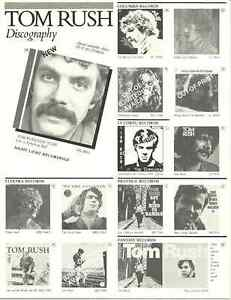 TOM RUSH PROMOTIONAL DISCOGRAPHY & ORDER FORM - 1960s FOLK MUSIC ICON