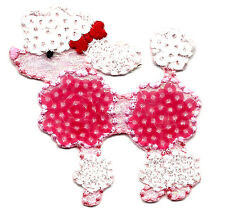 DOGS - POODLE (PINK SEQUINS) - PETS - ANIMALS - Iron On Embroidered Patch