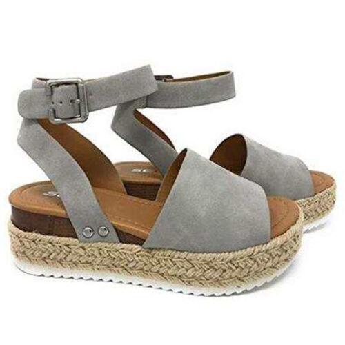 Damen Sandalen Sandaletten Keilabsatz Plateau Sommerschuhe Schuhe Größe 36-43