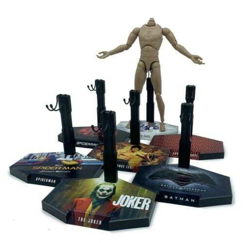 1//6 Scale Action Figure Stand Universal Display Black Base #03