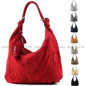 Damentasche-Gross-ital-Ledertasche-Hobo-Bag-Schultertasche-Wildleder-851T