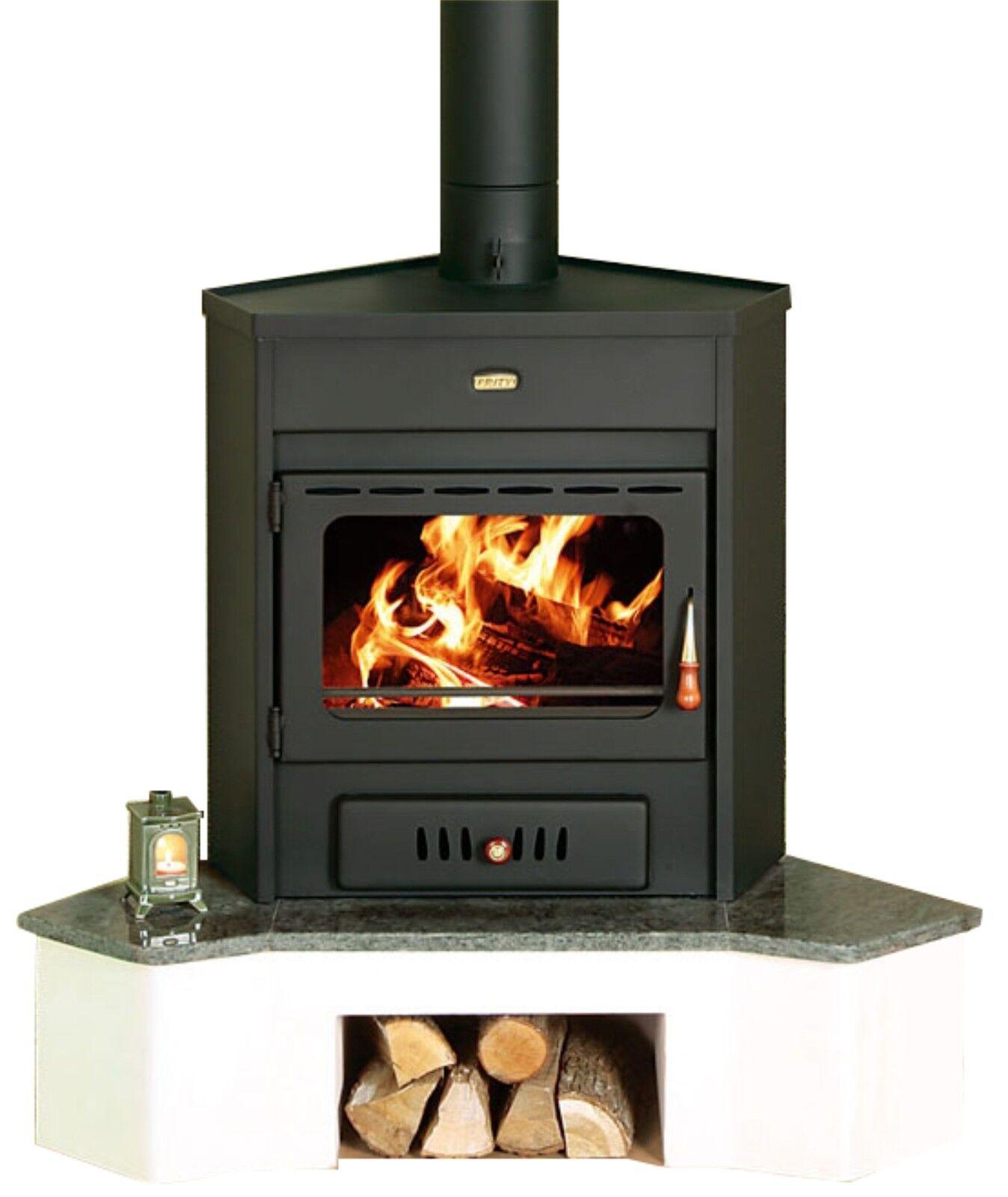 Poele A Bois De Coin détails sur poêle à bois coin modèle brûleur foyer solide carburant 12kw  prity amb