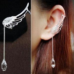 Angel-Wing-Silver-Plated-Crystal-Chain-Ear-Cuff-Stud-Clip-Earrings-Drop-Dangle