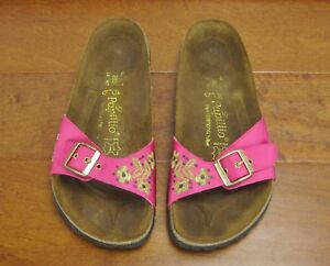 the best attitude 9fb10 72879 Details about Papillio Birkenstock Madrid Fuchsia Pink Gold Embroidered  Sandals Size 9 Womens