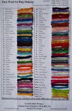 Weaving, knitting and latch hook rug wool shade card