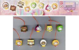 Raro-Set-8-Figuras-Hello-Kitty-Vestido-De-Tarta-Sweets-Colgantes-Original-BANDAI