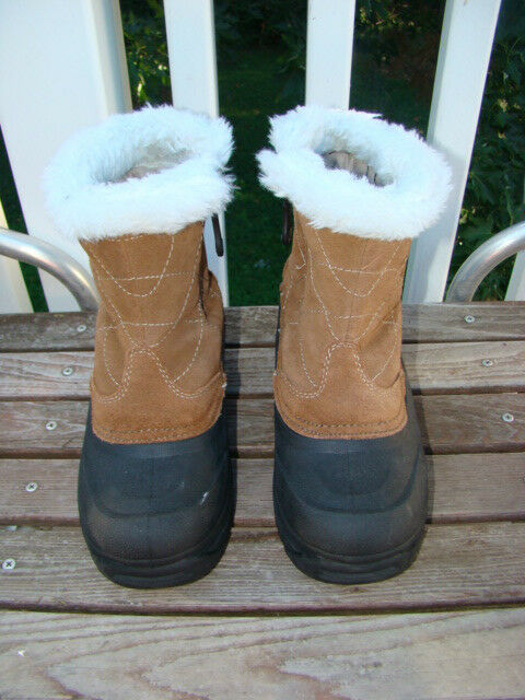 THERMOLITE BROWN LEATHER SUEDE FAUX FUR ACCENT ZIPPER SNOW SNOW SNOW BOOTS WOMEN SIZE 7 0df5f4