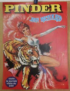Affiche-Originale-Cirque-PINDER-30cm-x-40cm-Tigre-amp-Danseuse