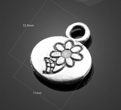 PJ611  15pc Retro Tibetan Silver ellipse flowers Jewelry Accessories wholesale