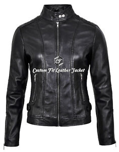 Style Ladies pelle 100 Cool in Retro Fashion 3061 Biker Giacca Black nXrqx6fpwX