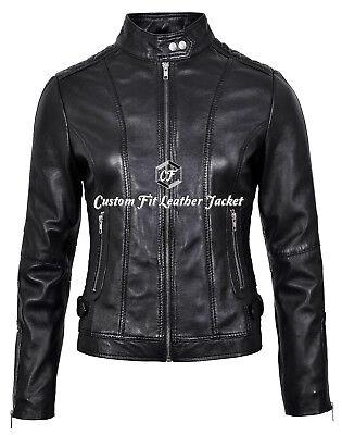 Ladies Leather Jacket Black Cool Retro Bomber Biker Style 100/% REAL NAPA 2348
