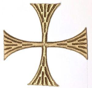 Vintage-Quadrato-Croce-6-034-Ricamato-da-Cucire-Oro-Anticato-Maltese-Toppa-2-PC