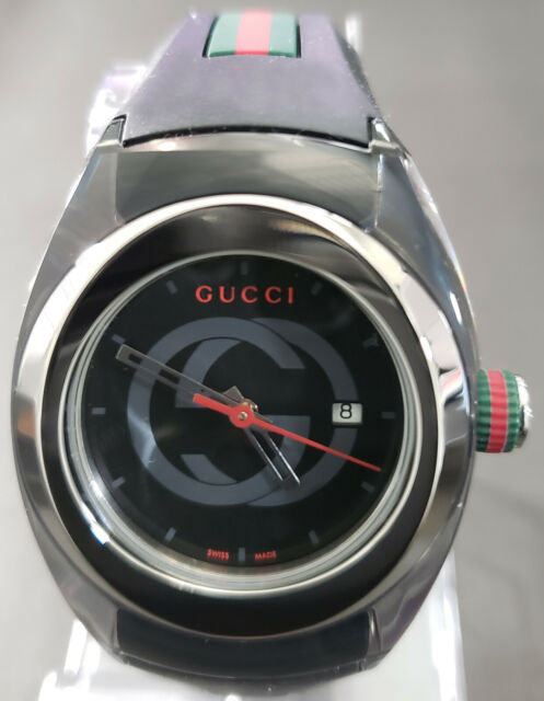 530e67ee86b51 Gucci Sync L YA137301 Stainless Steel Watch With Black Rubber Band