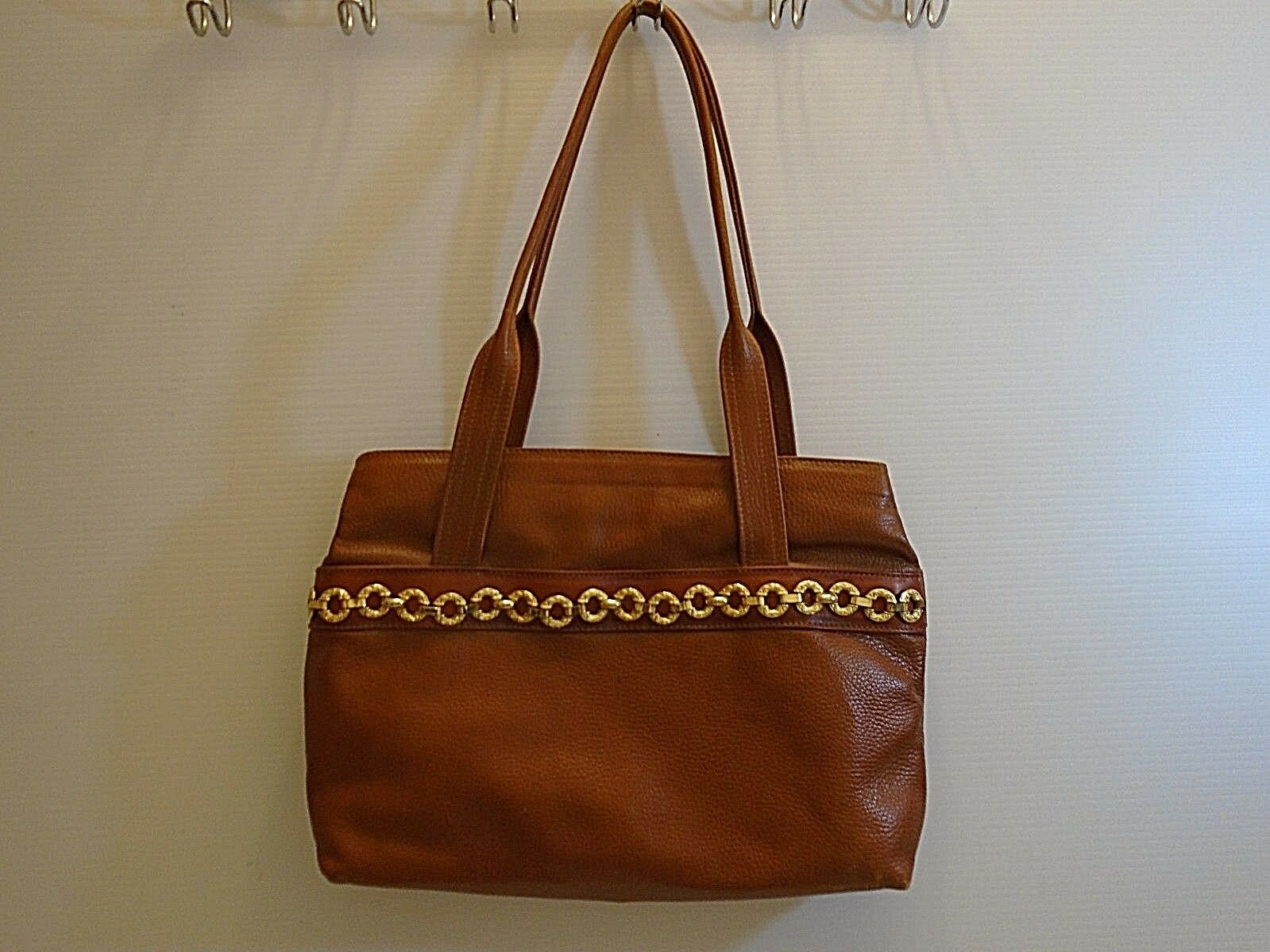 Vintage Fratini women's brown  leather Tote handb… - image 5