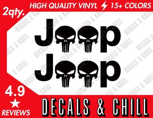 2x Jeep Punisher Skulls Decal Sticker Jeep TJ JK CJ YJ Wrangler Rubicon Fender