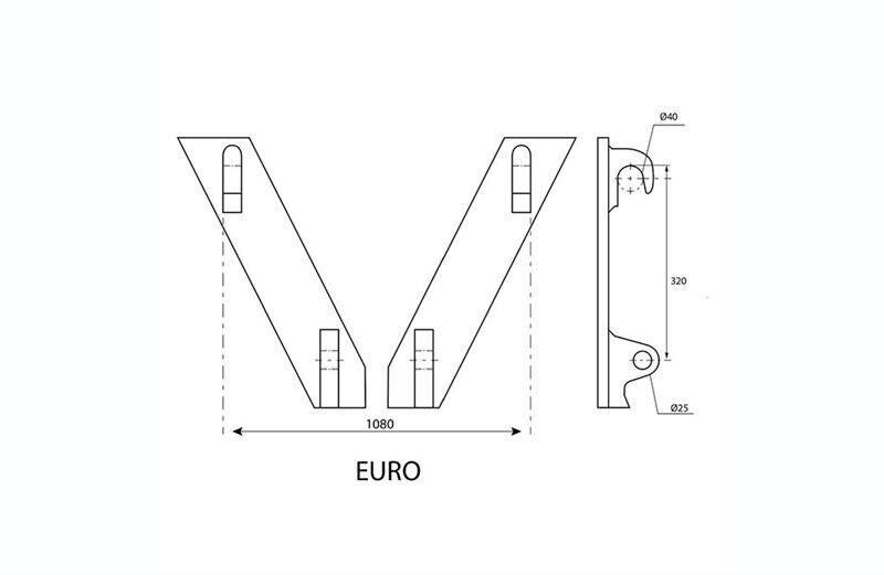 Pallegaffel, 2.5ton palegafler med EURO beslag