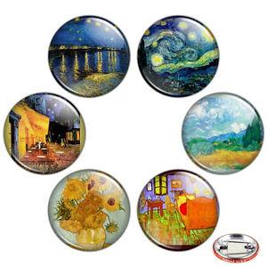 Van-Gogh-Painting-1-25-034-Pinback-Button-BADGE-SET-Novelty-Pins-Starry-Night