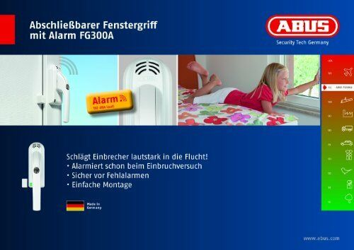 ABUS ABUS Abschließbarer Fenstergriff mit Alarm FG300A Weiß