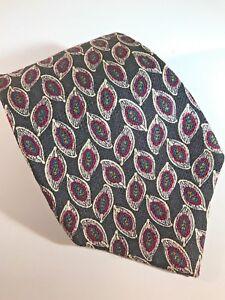 ROBERT-TALBOTT-Men-039-s-Neck-Tie-Hand-Sewn-Finest-Silk-USA-Black-Geometric-Pattern