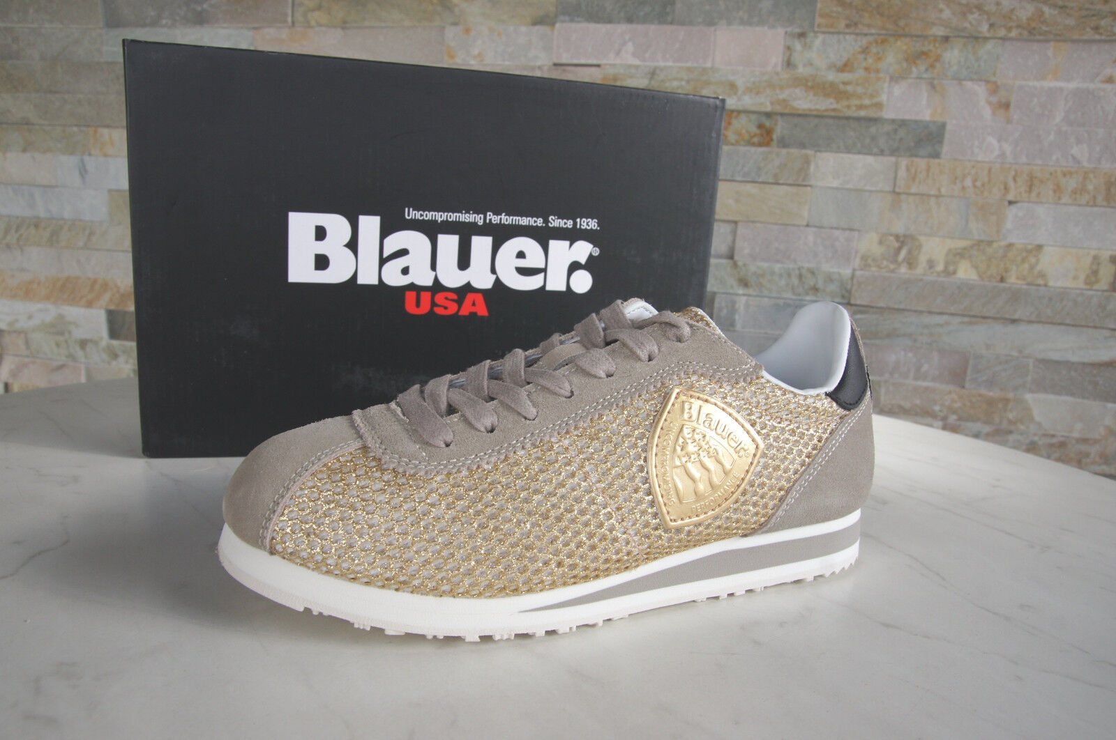blueer USA 36 Sneakers Lace up shoes Bowling Beige gold New Previously
