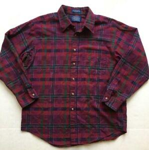 Pendleton-Shirt-Wool-Cotton-Burgundy-Plaid-Men-039-s-Large-Long-Sleeve-Made-in-USA