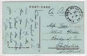 GB USED IN PALESTINE: 1919 postcard with FIELD POST OFFICE SZ15 pmk (C24229)