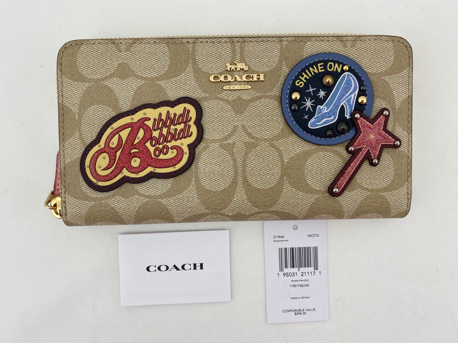 NWT Disney Coach Accordion Zip Wallet Signature Canvas w/ Patches C1946