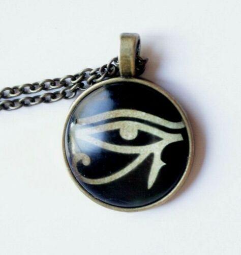 Eye of Horus Ra Cat God Symbol Disc Pendant Ancient Egyptian Necklace Jewellery