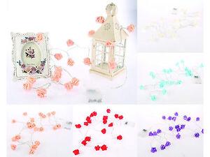 BEAU-Fleur-Rose-del-Pile-Fee-Fil-CLIGNOTANTE-FEUX-DE-JARDIN-Cable-2-m
