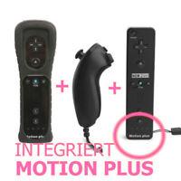 2in1 Motionplus Remote Controller Nunchuk Für Nintendo Wii Konsole Schwarz