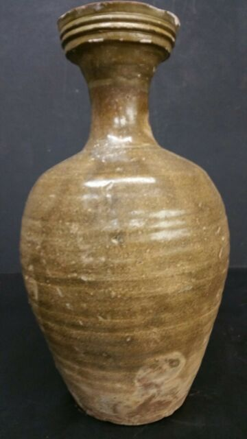 Antique Korean Goryeo Dynasty Glazed Stoneware Vase 1170 1270s