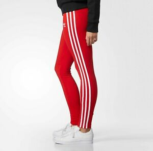 hot product get new first look Details about ADIDAS ORIGINALS 3 STRIPES LEGGINGS RED -SIZE UK  10,12,14,16,18 BNWT