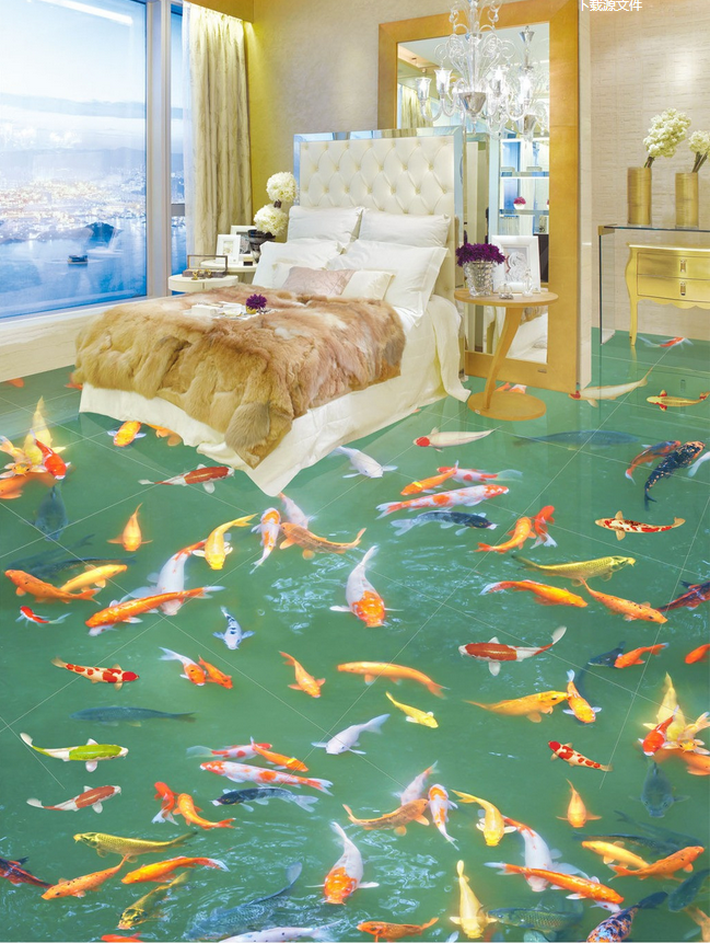 3D Many Koi Pond 8 Floor WallPaper Murals Wall Print Decal AJ WALLPAPER US Lemon