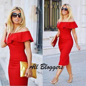 Zara Stunning Red Off The Shoulder Dress Size M Ref 7972