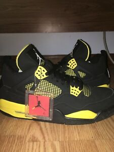 the best attitude 1bea6 19dc6 Details about Nike Air Jordan thunder 4s yellow and black new with box
