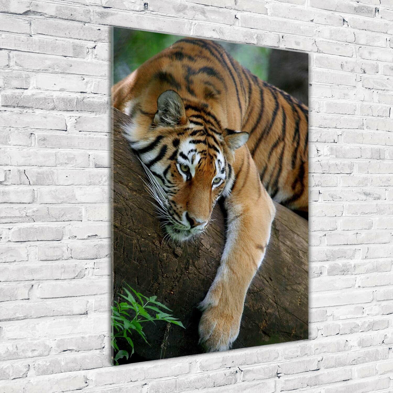 Wand-Bild Kunstdruck aus Acryl-Glas Hochformat 70x100 Tiger Baum