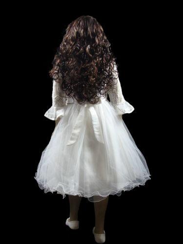 Mädchen Kleid festlich Blume mit Reifrock Blumenkind Taufe Hochzeit A-Linie Weiß