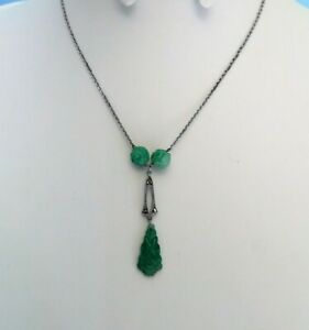 Vintage-Jewellery-stunning-Art-Deco-carved-Peking-glass-amp-Marcasite-necklace