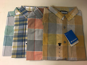 NWT-Columbia-Thompson-Hill-II-Short-Sleeve-Plaid-Yarn-Dye-Shirt-Sz-S-M-L-XL-2XL