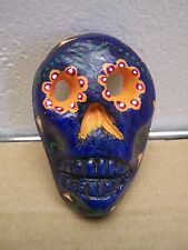 Day of the Dead Mini Painted Skull Mask - Blue - Mexico