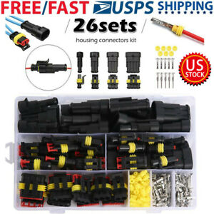 26 Sets Waterproof Car Electrical Wire Connector Plug 1-4 Pin Way Plug Kit
