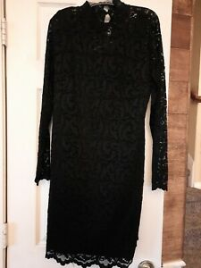 Isaac-Mizrahi-Live-Dress-Lace-Black-Size-Small-NEW