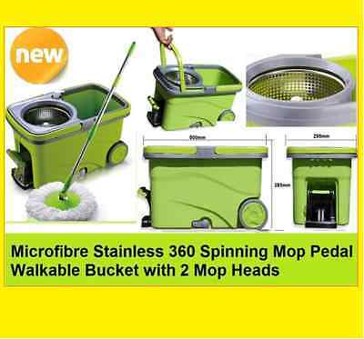 BEST QUALITY 360 Spinning Microfibre Mop Wet/Dry Spin Bucket with 2 Mop Heads