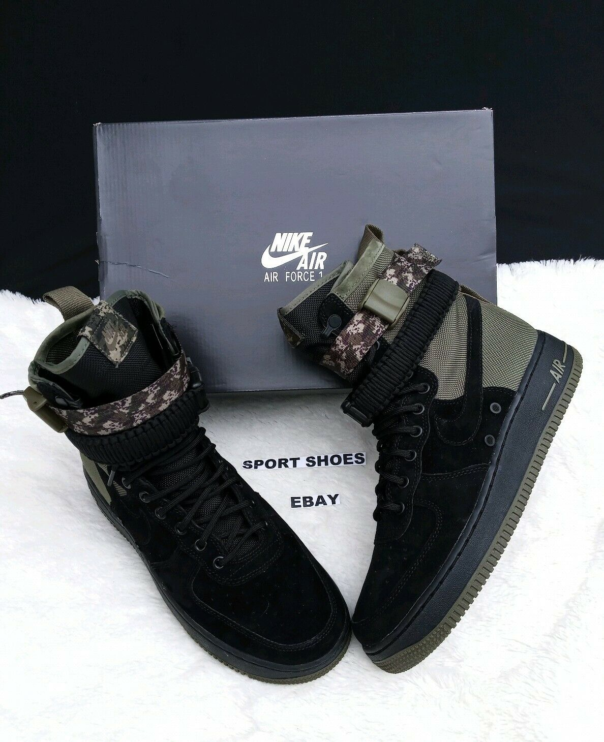 SIZE 9.5 MEN'S NIKE 864024 004 SF AF1 AIR FORCE ONE BLACK CAMO BOOTS SNEAKERS