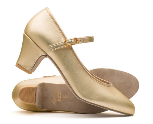 "Ladies Gold Metallic PU Suede Sole Ballroom Stage Dancing Shoes By Katz 2/"" Heel"