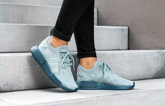 4d9e569609918 ... Women s Adidas NMD R1 R1 R1 W PK Tactile Green Sea Crystal Blue  Primeknit CG3601 Sz ...