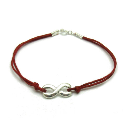 Sterling Silver Bracelet Solid 925 Infinity With Red String Handmade Empress