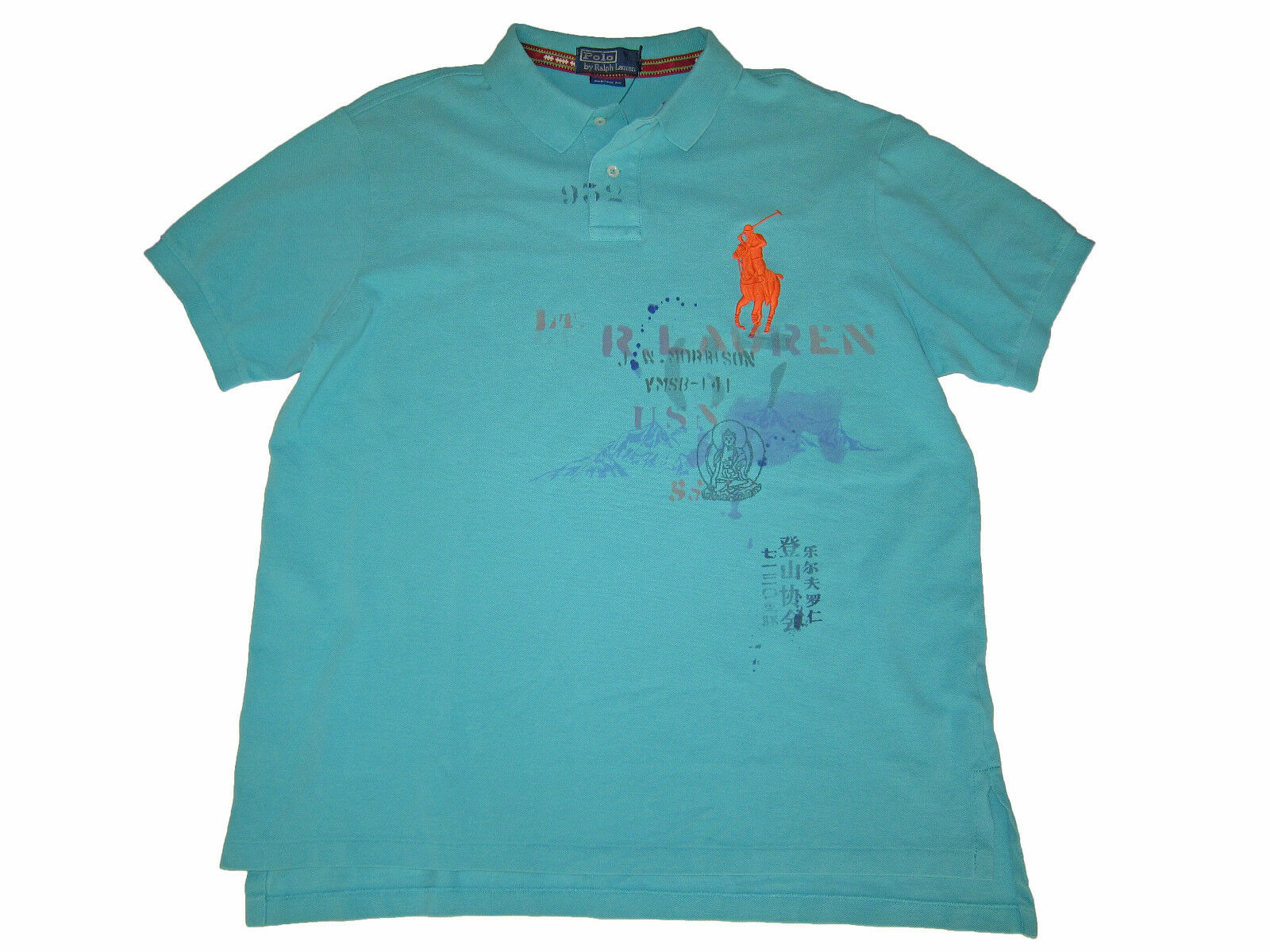 Polo Ralph Lauren Light bluee Tribal Lettering Beach Surf Big Pony Shirt XL