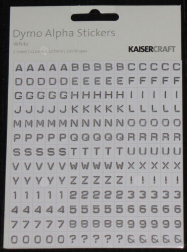 Kaisercraft /'Dymo Alpha Stickers/' 195 Shapes Alphabet You choose colour KAISER